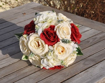 Red, White and Blue Wedding Bouquet made with Red Roses, White Roses and Blue Hyacinth Americana Bouquet.