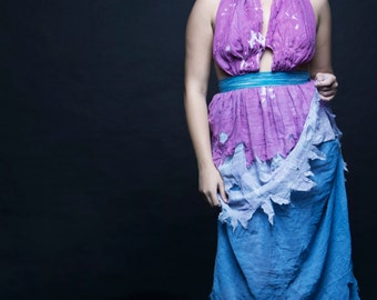 CLEARANCE. Zombie Girl Gown size L, purple blue gray