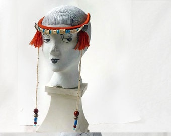Burning Man tribal headpiece, Boho beaded collar in orange,turquoise and bone, desert priestess
