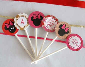 Minnie Mouse Cupcake Toppers, customized