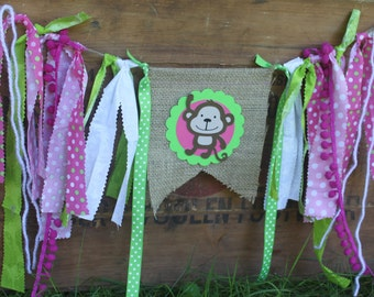 Pink and Lime Burlap Monkey Banner, First Birthday high chair banner, first birthday high chair decor, first birthday photo prop