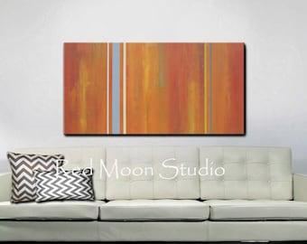 Abstract Painting, Abstract Art, Large 48x24, Orange, Rust, Burnt Orange, Gray