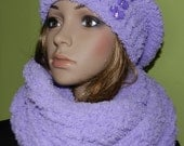 Super SOFT,CHUNKY Trendy Hat/Scarf  2 pieces Set  - Slouchy beanie/Tube Scarf,  Hippie Set in Light Purple