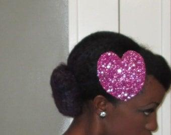 pink fascinator glitter heart hat valentines day