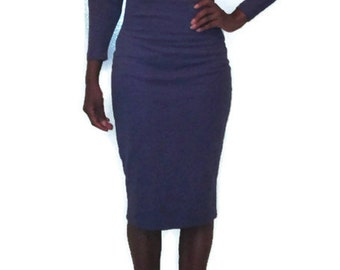 1980s vintage midi crop top stretch bodycon purple high waisted skirt suit size extra small xs 4 6