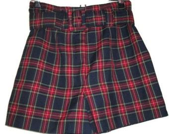 1990s vintage clueless high waisted plaid shorts belt size xs extra small xxs 2xs