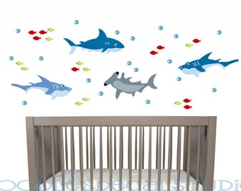 Shark Fabric Wall Decal, Shark Wall Sticker, Kids Shark Decals, Ocean Wall Decals, Nursery Kids Reusable Fabric Wall Decal Sticker