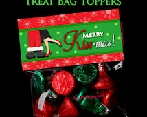 INSTANT DOWNLOAD - Merry Kiss-mas - Treat Bag Toppers - Christmas - Happy Holidays