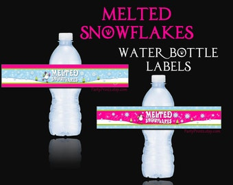 INSTANT DOWNLOAD - Printable Water Bottle Labels - Melted Snowflakes -Winter Wonderland Birthday Party