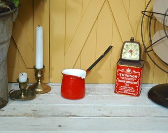 Vintage Red Enamel Turkish Coffee Pot Butter Warmer Retro Ladle Enamelware made in Poland