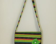 CLEARANCE - Neon Green Blue Pink and Gray Striped Kids Messenger Bag with Lime Flower - Spring Kids Bag - Kids travel bag