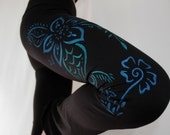 Ombre Womens YOGA PANTS, Henna Flower, Hand Painted, Gifts for Her