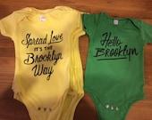 LEMON YELLOW, Spread Love it's the Brooklyn Way, Baby Onesie