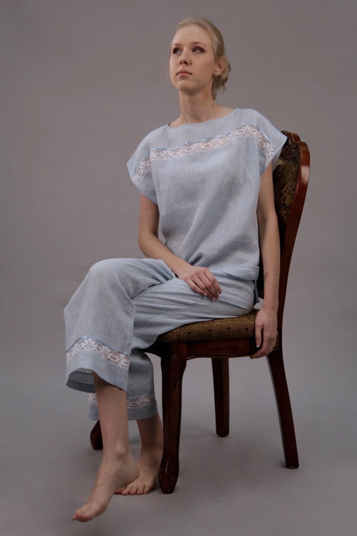 linen lingerie set including chemise slip by