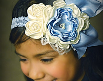 Over the top rosette headband in Ivory and light Blue