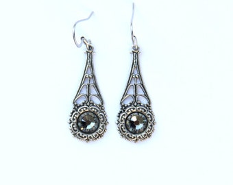 Wedding Jewelry, Filigree Earrings, Romantic Jewelry, Vintage Wedding, Bridesmaid Gift Under 30, Bridesmaid Jewelry, Victorian Style, Ornate