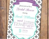 Modern Bridal Shower Invitation with banner, teal, purple, grey, baby shower Invites, gender neutral, shabby (item324)