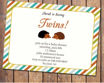 twin hedgehog baby shower invitation with hedgehogs and stripes, gender neutral, digital, printable file (item41)