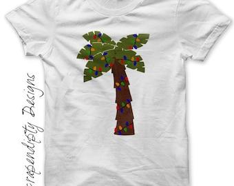 Iron on Palm Tree Shirt PDF - Christmas Outfit Iron on Transfer / Summer Christmas Shirt / Palm Tree with Lights / DIY Kids Clothing IT325