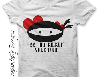 Iron on Ninja Shirt PDF - Valentines Day Iron on Transfer / Toddler Valentine Outfit / Be My Kickin Valentine / Boys Ninja Clothes IT371-P