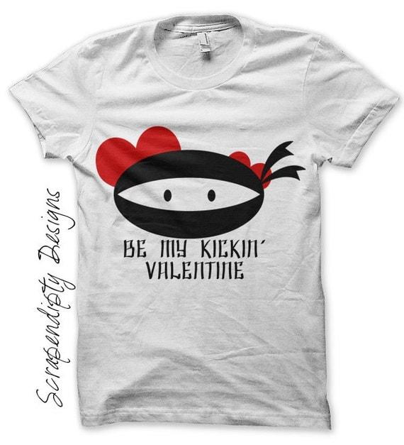 Iron on Ninja Shirt PDF - Valentines Day Iron on Transfer / Toddler Valentine Outfit / Be My Kickin Valentine / Boys Ninja Clothes IT371-P