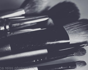 Black and White and Pink Makeup Brushes Art Print Makeup Girly Photography Bathroom Powder Room Decor Modern Vintage Girls Room Wall Art