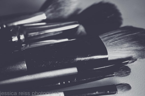 Black and White and Pink Makeup Brushes Art Print Makeup Girly