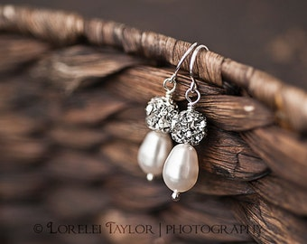 White Pearl Earrings - Swarovski Crystals - Bridal Jewelry