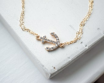 Rhinestone Anchor Bracelet | Sideways Gold Anchor Minimalist Jewelry
