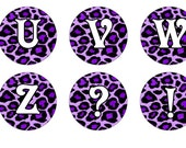 Animal Print / Leopard, Cheetah Alphabet Letters for Bottlecap Images / Purple Initials / Printable 1-Inch Circles / Instant Download
