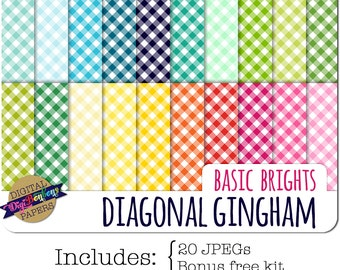GINGHAM Digital Paper, INSTANT DOWNLOAD, Commercial use ok, 12 x 12, 12x12, bright colors, gingham pattern, digital scrapbooking papers