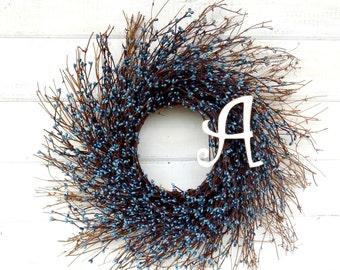 MONOGRAM Wreath-Personalized Gift-Blue Twig Wreath-Rustic Twig Wreath-Monogram Door Wreath-Initial Wreath-Wall Hanging-Housewarming Gift