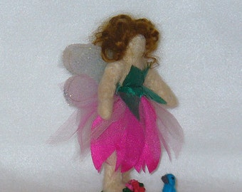 Needle Felted Waldorf Style Faerie Doll with Blue Bird