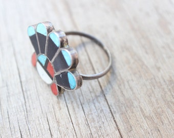Native Ring / Zuni Sunface Sterling Jewelry / Vintage Native American Unisex Ring