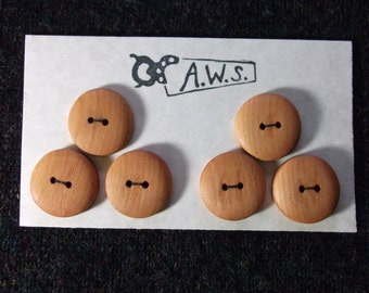Six Wood Buttons In Cherry 1 inch