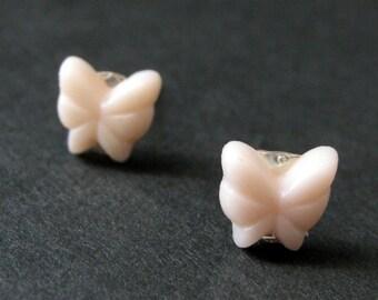Mini Butterfly Earrings. Pale Pink Earrings. Pale Pink Butterfly Earrings. Silver Post Earrings. Stud Earrings. Handmade Jewelry.
