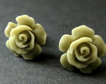 Army Green Flower Earrings. Khaki Green Earrings. Gardenia Flower Earrings. Bronze Post Earrings. Green Rose Earrings. Handmade Earrings.