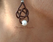 Freshwater Pearl and Leather Earrings - 1 Pearl Friendship Knot Brown - Pearl and Leather Jewelry Collection