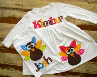 Turkey Dress and Shirt Set, Brother Sister Sibling Set, Personalized Dress and Shirt with Turkey Appliqué, Long Sleeved 3-6m to 8yrs