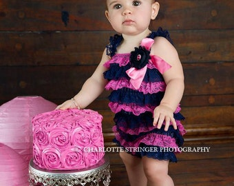 Navy petti lace romper and headband 3 or 4 pc SET, Baby girl 1st birthday outfit, Nautical Birthday, Whale Baby romper, Cake Smash Outfit