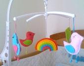 Musical Baby Crib Mobile - Birds and Rainbow Mobile - with rotating music box - Nursery crib mobile
