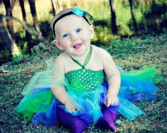 REAL FEATHERS Peacock tutu Dress Costume with Feather Tail Baby Girls Toddler Skirt Flower Halloween