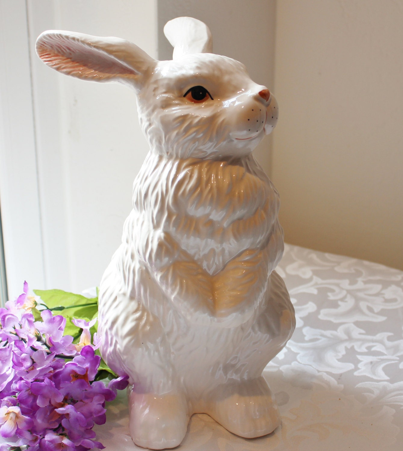 Vintage Bunny Rabbit Figurine Large Ceramic