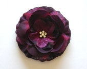 "CLEARANCE Burgundy Hair Flower - Burgundy Flower Clip - 3"" EMMA FLOWER - Hair Clip or Brooch - Rhinestone Flower - Wine Hair Flower"