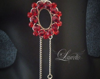 Gothic Victorian Earrings -red round playful elegant  vampire romantic flower  wedding earrings
