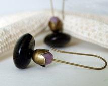 Dangle Earrings - Black and Lilac earrings- Jet Stone and Glass Earrings