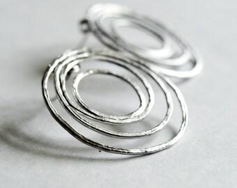 Metal Matte Rodium Earrings-Geometric modern earrings-Sterling Silver minimalist earrings