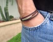 Unisex Bracelet. Genuine Leather with Silver Slider