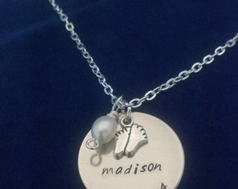 New Baby personalized necklace with tiny feet charm and pearl