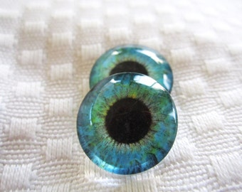 Glass eyes for animal sculptures and polymer clay 18mm cabochons